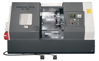 A CNC Lathe turning machine.