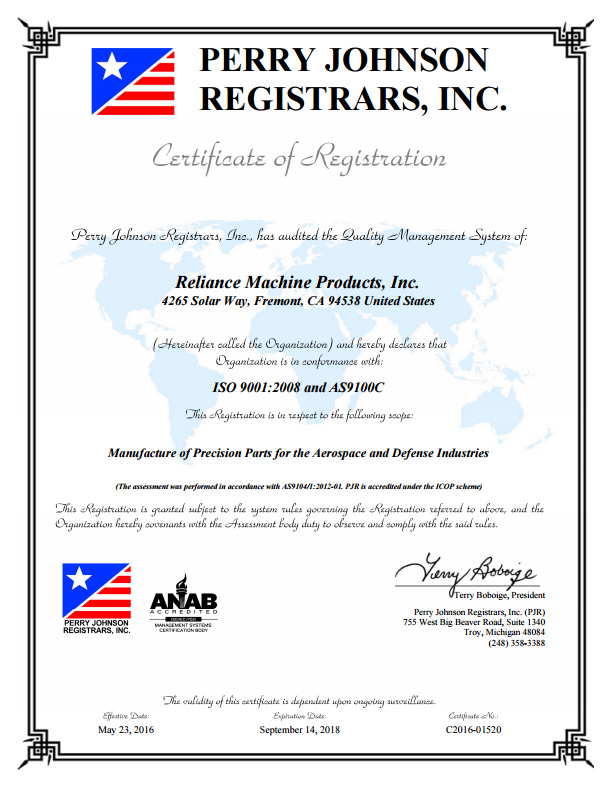 Certification of Perry Johnson Registrars